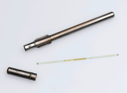 Metal storage tube for vaccines, Europe, 1881–1920. Transporting smallpox vaccines was a problem in the 1800s. Ivory vaccination points and lancets had been used but there was always the danger that they might become contaminated. One solution was to seal the vaccine in a glycerol acid in a glass capillary tube. The delicate tubes could then be transported in a metal case like this one. Contributors: Science Museum, London. Work ID: crkuc63n.