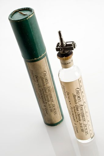 Ethyl chloride spray, United Kingdom, 1925–1940. The metal nozzle was designed to spray liquid ethyl chloride on to a face mask to be inhaled by the patient. The vapours acted as a general anaesthetic, putting the patient to sleep so that operations could be carried out. However, by the 1900s the spray was considered by anaesthetists to be more suitable for inducing, rather than maintaining, anaesthesia. Bottle. Contributors: Science Museum, London. Work ID: udh4bxpm.