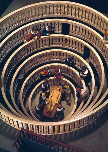 Scale model of anatomy theatre built at Padua in 1594, showing disection taking place. Contributors: Science Museum, London. Work ID: jn7hwnn6.