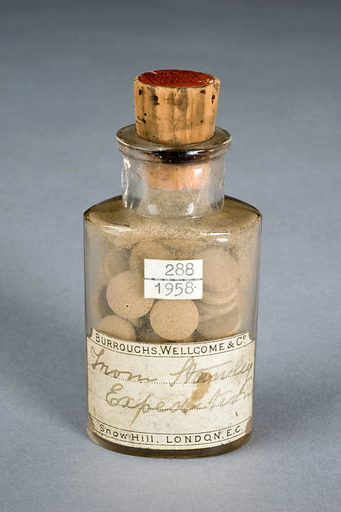 Glass bottle of Livingstone Rousers, by Burroughs Wellcome, 1880–1900 Graduated grey background. Contributors: Science Museum, London. Work ID: eg43u4wz.