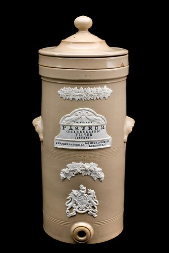 Pasteur-Chamberland-type water filter, London, England, 1884. This type of filter was invented in 1884 by Charles Chamberland (1851–1908), a French bacteriologist who worked with Louis Pasteur (1822–1895). He developed a porcelain filter that could be used to remove micro-organisms from pressurised water. Not only was it useful for sterilising techniques in the laboratory, it also filtered and purified water for drinking. Contributors: Science Museum, London. Work ID: ru4qcxv3.