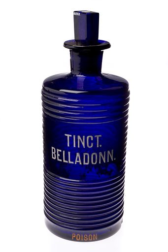 Glass bottle used for tincture of belladonna, England, 1880–. Belladonna or Deadly Nightshade is a plant whose name suggests it is poisonous. However, the roots and leaves have medicinal qualities – the leaves are a narcotic to induce sleep, and can be used as a diuretic and as a muscle relaxant. The roots and leaves were also used for plasters to relieve aches and pains. The cobalt blue coloured glass was blown with a ridged design. It is thought that poison bottles had distinctive textures and colours so they could easily be identified by touch and by sight. Contributors: Science Museum, London. Work ID: crxpnfs8.