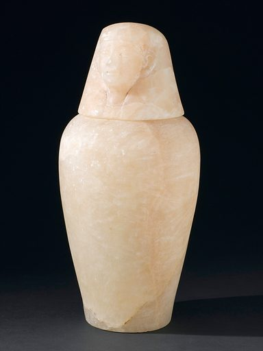 Alabaster canopic jar with portrait of Imseti, Egyptian, 800 – 200 BC. Front three quarter view of whole object. Black background. Contributors: Science Museum, London. Work ID: uurfefae.