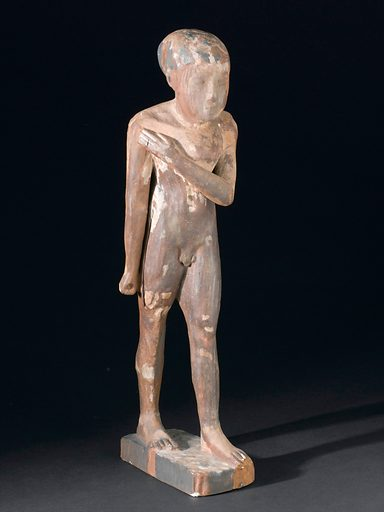Figure of hunchback, plaster, 3000 – 2000 BC. Front three quarter view. Black background. Contributors: Science Museum, London. Work ID: u4djug39.