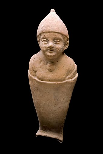 Terracotta votive figure of a young infant, Roman, 200 BCE-2 Objects like this were often left at healing sanctuaries and other religious sites as offerings to gods such as Asklepios, the Greco-Roman god of medicine. Usually as a plea for help at times of ill health or as thanks for a cure, this offering of a young swaddled infant may indicate a sick child who needs healing or was perhaps given in the hope that a woman might become pregnant. Votive offering. Amulet. Contributors: Science Museum, London. Work ID: qsxgyjne.