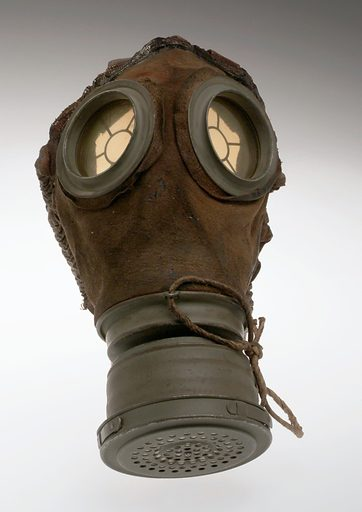 Gas mask, Germany, 1915–1918. Poison gas was a new weapon during the First World War and was first used by the German Army in 1915. The British and French Armies soon followed suit. Fortunately, although good protective equipment was initially quite slow to develop, masks like this one eventually reduced poison gas to a major annoyance rather than the terrifying killer of the early attacks. Among the chemical weapons used was mustard gas, which caused burns to the skin and blindness. Phosgene gas was also used and was particularly dangerous as it is colourless and almost odourless. This gas affected the lungs and breathing and could also cause heart problems. Contributors: Science Museum, London. Work ID: h3cx63hn.