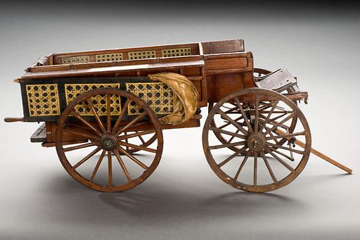 Model ambulance, of McPherson, known as the Madras waggon, wood, from Royal Army Medical College, English, second half 19th century. Profile view, graduated grey background. Contributors: Science Museum, London. Work ID: h6t3pxyp.