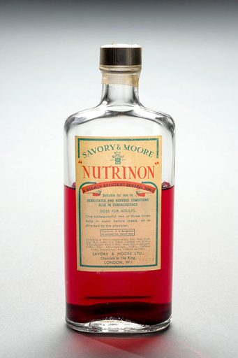 Bottle of 'Nutrinon', London, England, 1749–1900. The lurid red colour of 'Nutrinon' may not look appealing to everybody, but it was sold as a general tonic for conditions affecting the nerves as well as for those convalescing. One tablespoonful mixed with water was taken before meals or as directed by the physician. The product was typical of numerous medical tonics that would have been sold 'over the counter' in chemists shops across the country. Medicinal tonic. Contributors: Science Museum, London. Work ID: dw5exzp5.