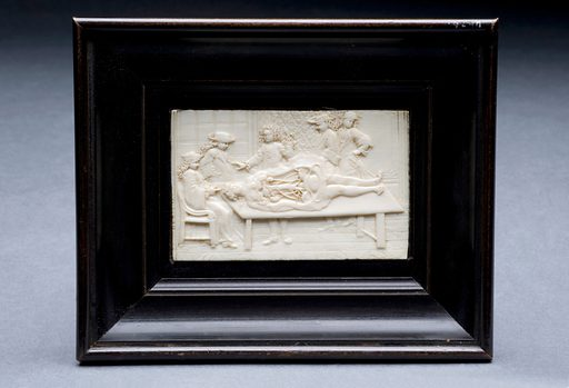 Ivory plaque showing a dissection scene in ebony frame, Euro. The plaque depicts an anatomical dissection scene. The scene shows four men in wigs and fine clothes watching another man perform the dissection. Such dissections were often observed by an audience because cadavers were in short supply and not every student could perform their own dissections. Contributors: Science Museum, London. Work ID: jfkbmx7a.