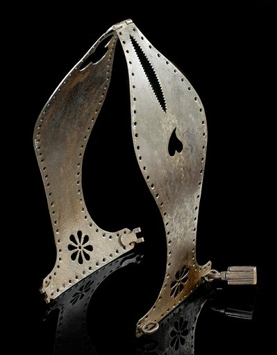 Iron chastity belt, Europe, 1501–1600. Red velvet lining gives some comfort for the wearer of this hinged, metal chastity belt. The heavy belt is locked with a key. It is thought chastity belts were invented in the Middle Ages to prevent women having sexual intercourse. However, recent arguments suggest they are nothing more than Victorian myths. Documentation connected with this object claims it may date from the 1500s, but more likely it was made in the 1800s. Contributors: Science Museum, London. Work ID: fwsp5wnh.