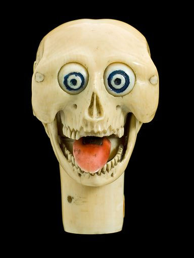 Ivory model of a human skull with moving parts, Europe, undated. This is a model of a human skull made in ivory. The eyes, tongue and the lower jaw move when the cylinder at the base is pushed. Contributors: Science Museum, London. Work ID: g6nydrhd.