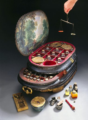 Genoese medicine chest, 1562–1566. This magnificent and unique medicine chest was made for Vincenzo Giustiniani (d 1570), the last Genoese governor of the island of Chios in the eastern Aegean Sea. He ruled Chios from 1562 until the Turks expelled the Genoese in 1566 after an occupation of some two hundred years. On a box from the middle drawer is painted the symbol of Chios – a black eagle above a three-towered castle. The chest contains 126 bottles and pots for drugs, some of which still have their original contents. These include rhubarb powder, ointment for worms, juniper water and mustard oil. The chest measures nearly a metre long. The painting on the inside of the lid is a later addition. It remained in the Giustiniani family until it was bought by Henry Wellcome in 1924. Contributors: Science Museum, London. Work ID: t548n8xc.