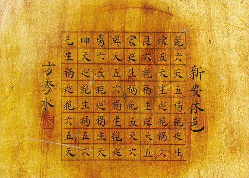 Wooden geomantic compass and perpetual calendar, Chinese. Detail view of inscription. Contributors: Science Museum, London. Work ID: x7pcmgtz.