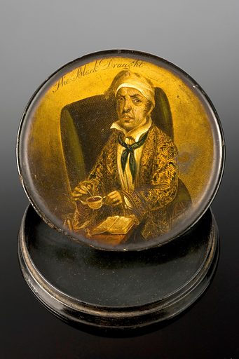 Snuff box, Europe, 1831–1900. Used to contain a finely powdered tobacco known as snuff, this lacquered wooden box has an illustration of a man preparing 'The Black Draught'. This probably refers to a well known laxative that could be bought at pharmacists or made at home, although 'Black Draught' could also be coffee. Contributors: Science Museum, London. Work ID: gcrhtdqm.