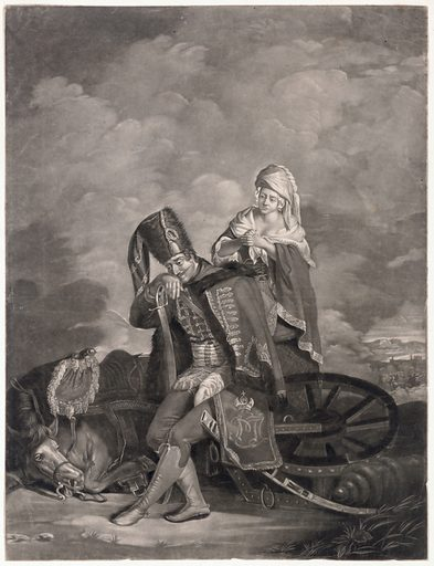 A defeated hussar on the battlefield, whose horse has been killed while pulling a gun mounted on a chassis; a woman sympathizes. Mezzotint by V Green after G Carter, 1776. The soldier rests his head on his hand supported by the hilt of his sword. His cloak bears a monogram and a heraldic emblem. Created 4th June, 1776. Hussars. War horses. Battles. Battle casualties. Defeat (Psychology). Contributors: George Carter (1737–1794); Valentine Green (1739–1813). Work ID: vugj5pkz.
