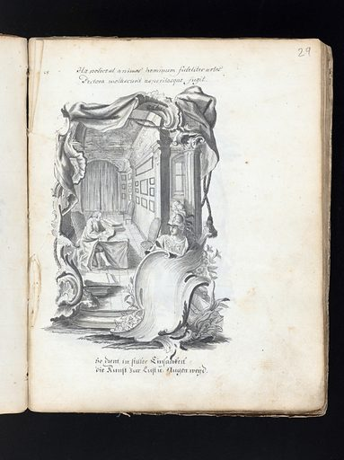 """Allegorical and sacred subjects, and hermits. Drawings, ca 1740. Fols 86v and 87v bear artist's name """"Franciscus Aspruck deline"""" (87v) and """"Fus Aspruck"""" (86v, some letters indistinct), apparently referring to Franz Aspruck: an artist of this name is recorded as having been born in Brussels ca 1570/1580 and having worked as a draughtsman, goldsmith etc. in Augsburg until at least 1604. The present drawing might be after designs by that Aspruck, or executed by a different, later, artist of the same name. Work ID: zjhwn7hu."""