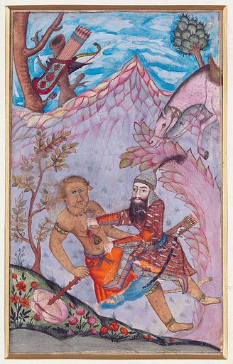 Rustam's Seventh Labour: he kills the White Div. Scene from the Shahnameh. Rustam (standing with dagger, armoured) slays the White Div ('White Demon', depicted with tail and bestial features). Nearby is Rustam's horse. Work ID: z76v4sgz.
