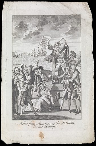 Lord North and the Earl of Mansfield stand on a platform addressing a group of distressed patriots beyond which ships of war sail and sink. Engraving, 1776. Satirical illustration to an article intended to counteract the effect of the news of the capture of New York. Lord North is smiling as he holds up a dispatch beginning with 'My lord' and signed 'how'. Lord Bute and George III stand behind on the right. Two ministers point with amusement at the patriots, among whom is John Wilkes who raises his fist. A dishevelled-looking woman sits weeping holding the cap of liberty. Mansfield was not in North's cabinet but was sympathetic to his policies. Created 1 Dec. 1776. Britannia (Symbolic character). Patriotism. Bribery. Elections. Despotism. New York (State). America. William Murray, Earl of Mansfield (1705–1793). John Wilkes (1725–1797). George III, King of Great Britain (1738–1820). John Stuart, Earl of Bute (1713–1792). Frederick North, Lord (1732–1792). Work ID: qz7z8fub.