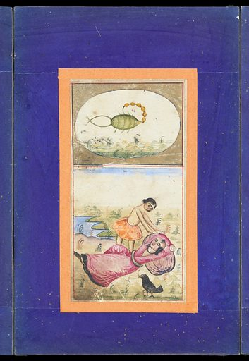 Signs of the zodiac: Scorpio, the scorpion. The twelve astrological signs of the zodiac. Eighth sign of the zodiac. Album folio 4, painting no. 4 Gouache paintings by an Persian artist, 18 – (?). Work ID: nd2pupp8.