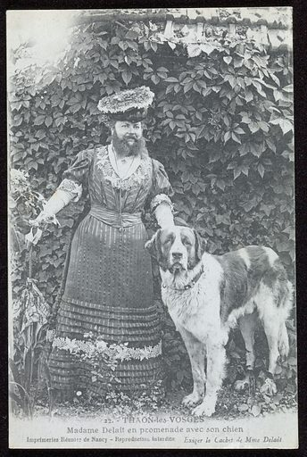 Postcard showing bearded lady Madame Delait, ca 1919