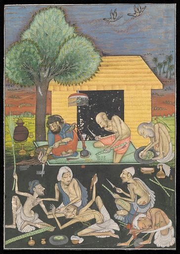 Ascetics preparing and smoking opium outside a rural dwelling in India