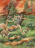 Stone Age man fleeing fire