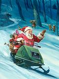 Santa Claus delivering Christmas presents on a snowmobile