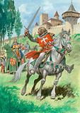 Knight outside castle