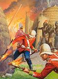 English soldiers burning a Zulu village