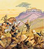 British soldiers attacking a Boer position