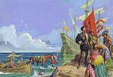 Hernando Cortes arriving in the New World
