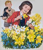 Schoolgirl arranging daffodils and bluebells