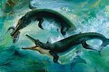 Pre-historic Crocodiles Eating a Fish