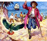 Long John Silver and his parrot, from Treasure Island, by Robert Louis Stevenson