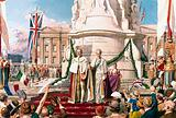 King George V and Queen Mary outside Buckingham Palace