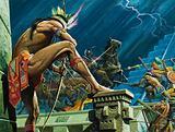 Aztec warriors fighting Spanish Conquistadors, Tenochtitlan, Mexico, 1520