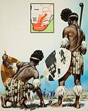 Matabele tribesmen watch settlers raise the Union Jack