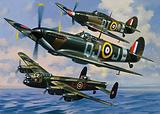 Hawker Hurricane, Supermarine Spitfire and Avro Lancaster, British aircraft of World War II