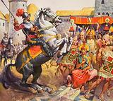 Spanish Conquistadors encountering the Incas of South America, 16th Century
