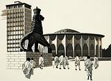 Unidentified city scene with strange statue