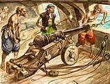 Gun crew loading a cannon on board a warship