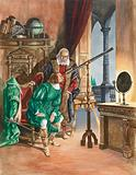 Galileo, now blind, lets a friend look at the stars through his telescope from the balcony of his study in Pisa