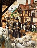 Louis Pasteur sees the results of his experiment with a vaccine for anthrax