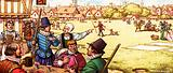 Unidentified 17th century scene of men drinking at an inn by a common