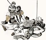 A scene from Andrew Lang's story 'Ian, The Soldier's Son'