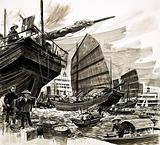 Unidentified scene of Chinese boats in harbour