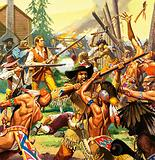 Daniel Boone defending a Kentucky homestead from attacking Indians