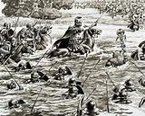 Caesar's legions crossing the Thames