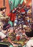 Barbarians invading a Romano British dinner party