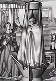 Mrs Disraeli pulling the chain for her husband as he bathed